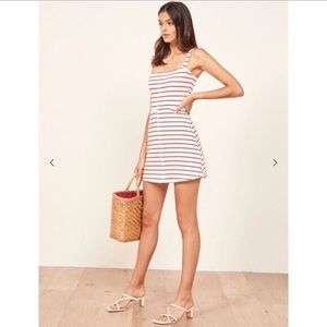 Reformation Nellie Dress in Pepe White/Red stripe
